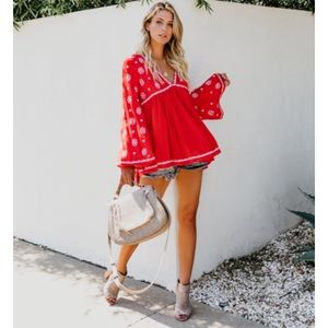 FATE Red Embroidered Baby Doll Top
